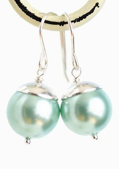 Aqua Blue Pearl Earrings Sterling Silver
