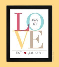 Wedding Gift Idea - LOVE Personalized Couple Wall Print  11x14, engagement, bridal shower, anniversary, wedding print