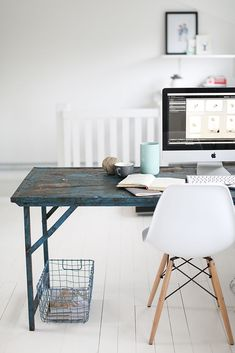 Simple workspace with style. The table adds a lot of personality to things.