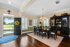 Traditional Dining Room with High ceiling, Shaw-Envision Walnut Nighthawk Random Length Engineered Hardwood Flooring, Carpet