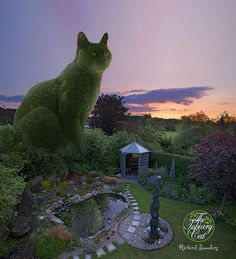 The Topiary Cat visiting his creator's garden.