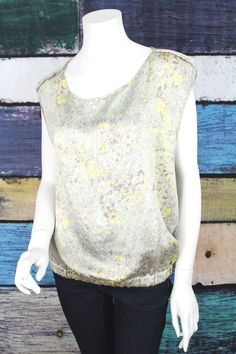 Keyhole Opening on the Back. Short Sleeve Blouse, Sleeveless Blouse, Dkny Jeans, Gray Yellow, Satin Blouses, Polyester Satin, Striped Shorts, Casual Tops, Cool Outfits