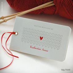 knit gift tags, personalized letterpress - inkello