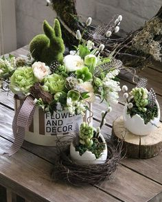 Wonderful Easter Decoration Ideas For Your Inspiration; Easter Table Decoration Ideas With Egg And Bunny; Easter Flower Arrangements, Easter Flowers, Spring Flowers, Floral Arrangements, Easter Centerpiece, Easter Colors, Easter Decor, Diy Flowers, Green Flowers