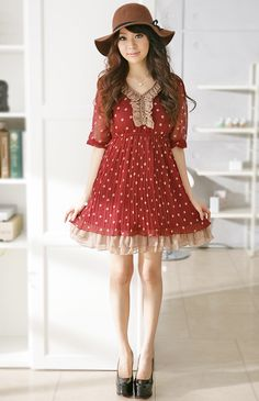 Wholesale Pretty & Sweet Dot V-neck Pleats Middle-length Sleeve Dress----Maroon top dresses