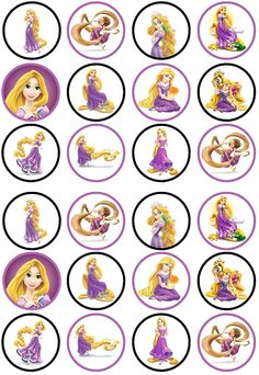 Rapunzel Princess Tangled Edible Wafe r Rice Paper Cake Cupcake Rapunzel Cupcakes, Rapunzel Birthday Cake, Disney Princess Cupcakes, Princess Cupcake Toppers, Tangled Birthday Party, Ballerina Birthday Parties, Birthday Party Decorations, Princesa Rapunzel Disney, Bolo Rapunzel