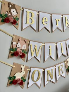 Woodland ONE Banner – ONE baby animals banner – ONE floral banner – Floral Banner – Baby Fox banner – Pink and gold glitter banner Woodland ONE Banner ONE baby animals banner ONE floral image 7 Diy Birthday Banner, Baby Birthday, Birthday Decorations, Pink Und Gold, Floral Banners, Baby Banners, Woodland Party, Paper Flowers, Baby Animals