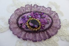 Purple lilac vintage inspired victorian style unique floral cameo brooch with…