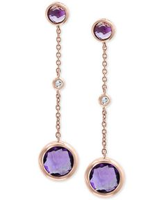 Amethyst Hydro, Rose Gold Plating Gift for Her 925 Sterling Silver Gemstone Cushion Stud Earrings