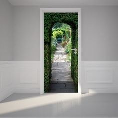 Door Wall Sticker Pretty flagstone path - Peel & Stick Repositionable Fabric Mural x x Wallpaper Door, Photo Wallpaper, Door Stickers, Wall Sticker, Interior Barn Doors, Interior Walls, Flagstone Path, Door Casing, Door Murals