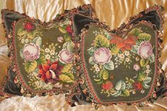 PAIR 19TH C ENGLISH VICTORIAN FLORAL NEEDLEPOINT PILLOW