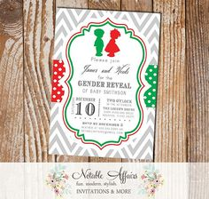 Gray Red and Green Chevron Polka Dots Child Silhouette - boy or girl? - Baby Gender Reveal Party Shower - Perfect for Gender Reveals during the Christmas Holiday Party season