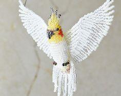 White Dove Suncatcher Beaded Dove Ornament Dove door AlulaCreations