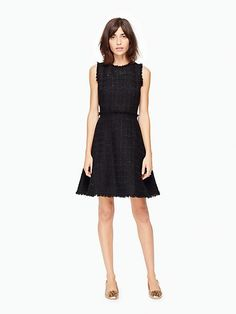 shimmer tweed dress, black
