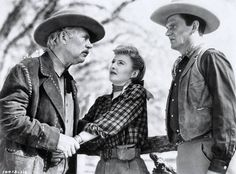 Barbara with Walter Huston and Wendell Corey in The Furies (1950).