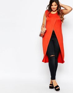 Plus Size Wrap Front Longline Tunic … Plus Size Dresses, Plus Size Outfits, Curvy Fashion Summer, Hijab Evening Dress, Plus Size Fashionista, Looks Plus Size, Plus Size Kleidung, Moda Plus Size, Fashion Outfits