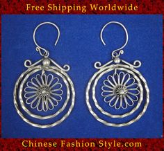 Tribal Silver Earrings Chinese Ethnic Hmong Miao Jewelry #107 Uniquely Handmade http://www.chinesefashionstyle.com/earrings/