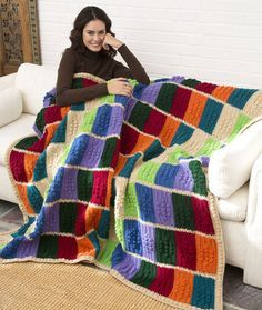 Color Block Throw: FREE crochet blanket pattern