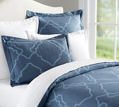 Preppy basics are the building blocks of chic style. This fresh pattern plays well with a pillow mix of contrasting colors and prints. Preppy Basics, Queen Duvet, Duvet Sets, Pottery Barn, Duvet Covers, New Homes, Pillows, Interior Design, Bedding