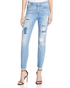 7 For All Mankind The Ankle Skinny Destroyed Jeans in Light Blue Sequin Cutout