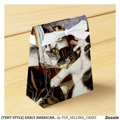 (TENT STYLE) EARLY AMERICAN CAT PAINTING FAVOR BOX