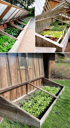 A sloping cold frame
