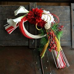 冬の新作☆和モダンお正月飾り ラタン紅白☆響花|フラワー・リース|aki|ハンドメイド通販・販売のCreema