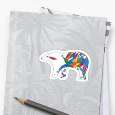 Watercolor and ink Polar Bear illustration with Mayan influences Polar Bear Illustration, Canvas Prints, Art Prints, Watercolor And Ink, Cotton Tote Bags, Duvet Covers, Finding Yourself, Phone Cases, Stickers