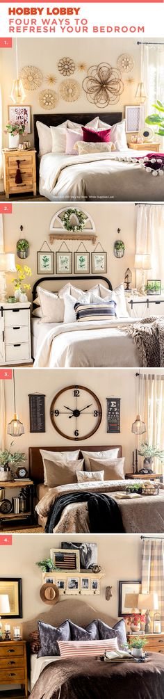 Four ways to refresh your bedroom. Don't make us choose a favorite. Get this look at your local Hobby Lobby®.