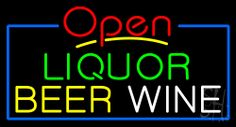 Open Liquor Beer Wine Neon Sign 20 Tall x 37 Wide x 3 Deep, is 100% Handcrafted with Real Glass Tube Neon Sign. !!! Made in USA !!!  Colors on the sign are Yellow, Green, Blue, White and Red. Open Liquor Beer Wine Neon Sign is high impact, eye catching, real glass tube neon sign. This characteristic glow can attract customers like nothing else, virtually burning your identity into the minds of potential and future customers.
