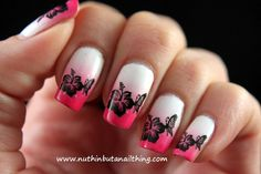 White and pink floral Ombre nail art design. A very simple yet beautiful looking Ombre nail art combination with floral silhouettes painted in black polish.