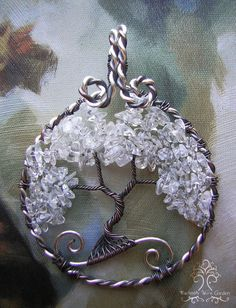 Clear Quartz Tree of Life Wire Wrapped Pendant Jewelry Snow Icy Winter