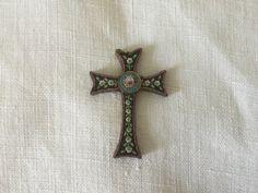 Italian vintage Micromosaic Micro Mosaic Cross / Crucifix c1900 with mosaic flowers Handmade de la boutique VintagedeFrance sur Etsy