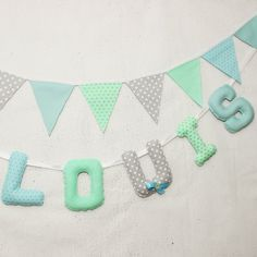 Baby #Name Banner, #Personalized Kids, #Teal #Mint #Gray, Nursery, Baby Name letters #Hanging, Baby Shower, #kidsroom