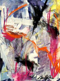 "kimbeyerjohnson:  "" Abstract Series #43. ""Hummingbird War.""  Mixed media on paper. 11 x 14.  """