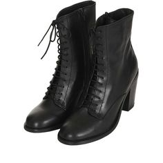 ABRA Lace Up Witch Boots ($150) ❤ liked on Polyvore featuring shoes, boots, ankle booties, footwear, heels, heel boots, lace-up ankle booties, lace up booties, laced up heel boots and heeled booties