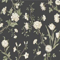 A traditional floral wallpaper with a black background.