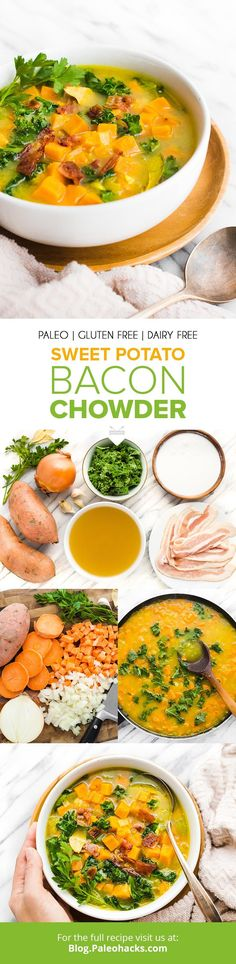 Beat the cold weather blues with sweet potato chowder filled with crispy bacon and gut-healing nutrients. Served hot and full of soul-soothing nutrients! Paleo Bacon, Paleo Soup, Healthy Soup Recipes, Healthy Cooking, Paleo Diet, Eating Healthy, Keto, Sweet Potato Recipes, Bacon Recipes