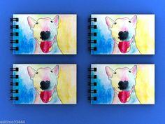 ENGLISH BULL TERRIER DOG 4 X MINI NOTEPADS / BLANK FLIP BOOKS ANNIMATION