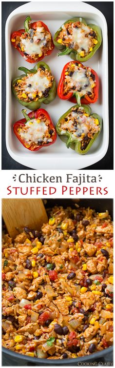 Chicken Fajita Stuffed Peppers - these are so healthy and so good! Even if you don't want to do the stuffed peppers it would make a delicious taco filling too. It has brown rice, chicken, black beans, corn, tomatoes with green chilis, seasonings, onions, lime and cilantro.
