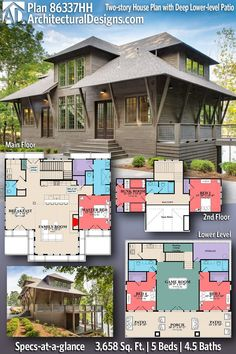 Coastal House Plan 86337HH gives you 3600+ square feet of living space with 5 bedrooms and 4.5 baths. AD House Plan #86337HH #adhouseplans #architecturaldesigns #houseplans #homeplans #floorplans #homeplan #floorplan #houseplan Two Story House Plans, Two Story Homes, New House Plans, Modern House Plans, Coastal House Plans, Coastal Homes, Patio Plans, Highland Homes, Roof Detail