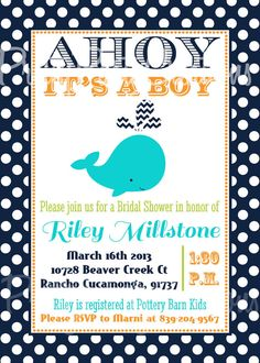 TURQUOISE or NAVY DOTS whale baby shower by PrettyPartyCreations, $11.50
