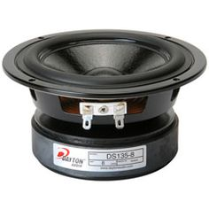 """The Designer Series DS135-8 from Dayton Audio brings great audio fidelity and superior cosmetics to the 5"""" woofer category.    Specifications:   • Power handling: 50 watts RMS/100 watts max • VCdia: 1"""" • Le: 0.88 mH • Impedance: 8 ohms • Re: 5.9 ohms • Frequency range: 50-7,000 Hz • Fs: 50.9 Hz • SPL: 86.9 dB 2.83V/1m • Vas: 0.27 cu. ft. • Qms: 1.94 • Qes: 0.44 • Qts: 0.36 • Xmax: 4.85 mm • Dimensions: Overall diameter: 5-5/16"""", Cutout diameter: 4-1/2"""", Depth: 2-5/8"""" $24.57"""