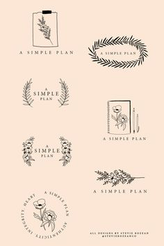 Floral, simple and illustrated logo for a wedding planner. @stevierozeanco on instagram