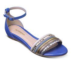 Sandália rasteira de couro azul royal | Sandálias | Bottero Calçados