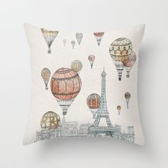 Voyages Over Paris Throw Pillow by David Fleck - $20.00