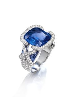New Liens Ring by Chaumet - set with 224 brilliant cut diamonds and a 10.69 cushion cut sapphire