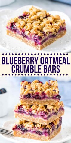 Blueberry Oatmeal Bars, Oatmeal With Fruit, Blueberry Desserts, Blueberry Recipes For Breakfast, Easy Fruit Desserts, Oats Recipes, Fruit Recipes, Baking Recipes, Dessert Recipes