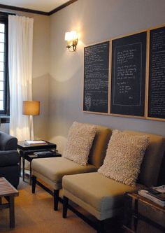 color palette, chairs, chalkboards.