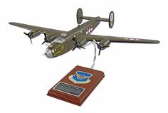 Warplanes produce B-24 Liberator wood airplane models that perfectly capture its fierceness and intensity. This Liberator B24 Scale Model Airplane is modeled using various high-quality grade materials by our master craftsmen. It is carved from solid mahogany and entirely hand painted, designed to match the original aircraft. A coat of clear lacquer protects the aircraft and gives it a glossy finish. Express your admiration by displaying an B-24 model aircraft in your home.